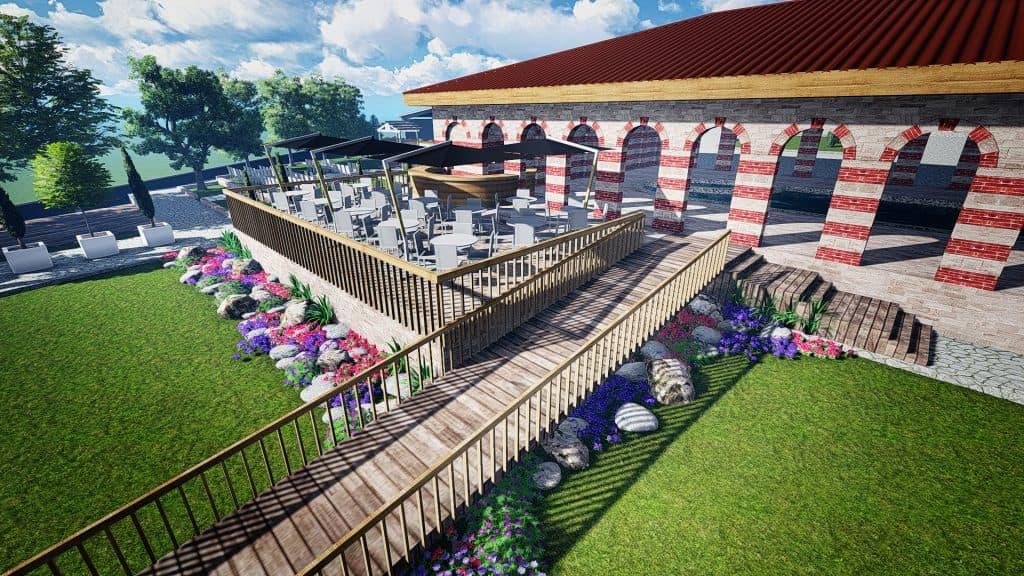 озеленяване на дворове, 3D изображение на ландшафтно проектиране и визуализация
